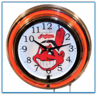 Cleveland Indians Double Neon Clock