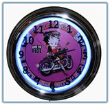 Biker Betty Neon Wall Clock