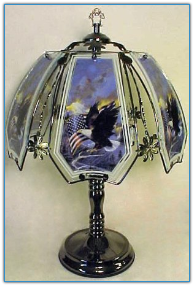 Eagle and US Flag Touch Lamp - Black Chrome
