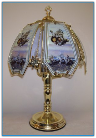 Native American with Indian Scene Touch Lamp