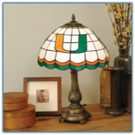 Miami Hurricanes - Stained-Glass Tiffany-Style Table Lamp