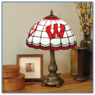 Wisconsin Badgers - Stained-Glass Tiffany-Style Table Lamp