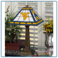 West Virginia Mountaineers - Stained-Glass Mission-Style Table Lamp