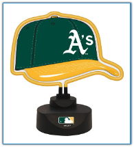 Oakland Athletics - Neon Helmet & Cap Desk Lamp