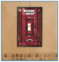 Miami Heat - Single Art Glass Light Switch Cover