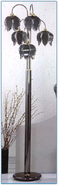 Five Globe Black Floor Lamp