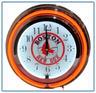 Boston Red Sox Double Neon Clock