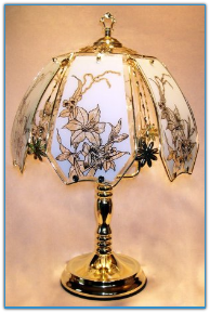 Lilies On White Glass Touch Lamp