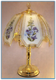 Blue Flowers On White Background Touch Lamp