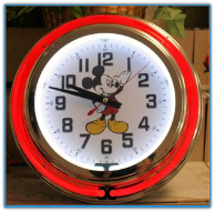 Red Mickey Mouse Double Neon Clock