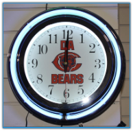 Chicago Bears Double Neon Clock