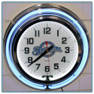 Milwaukee Brewers Double Neon Clock
