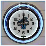 Carolina Panthers Double Neon Clock