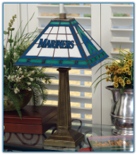Seattle Mariners - Stained-Glass Mission-Style Table Lamp