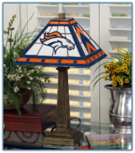 Denver Broncos - Stained-Glass Mission-Style Table Lamp