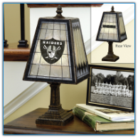Oakland Raiders - Art Glass Table Lamp