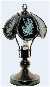 Small Black Floral Glass Touch Lamp