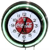 Green Coca Cola Double Neon Clock