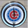 Chicago Cubs Double Neon Clock