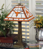 Texas Longhorns - Stained-Glass Mission-Style Table Lamp