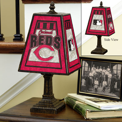 Cincinnati Reds Art Glass Table Lamp At
