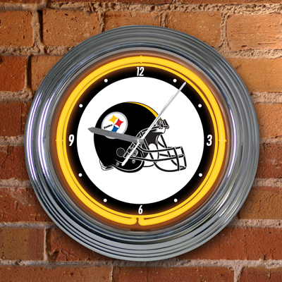 Pittsburgh Steelers Neon Light Wall Clock At